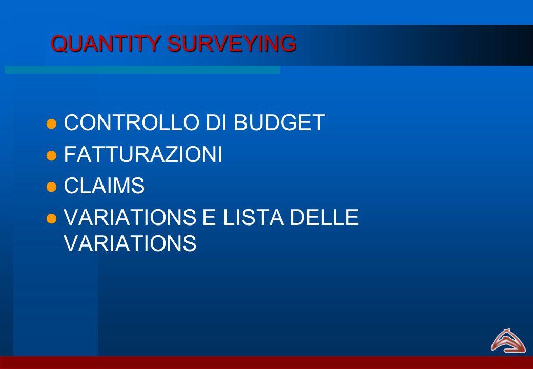 QUANTITY SURVEYING CONTROLLO DI BUDGET FATTURAZIONI CLAIMS VARIATIONS E LISTA DELLE VARIATIONS