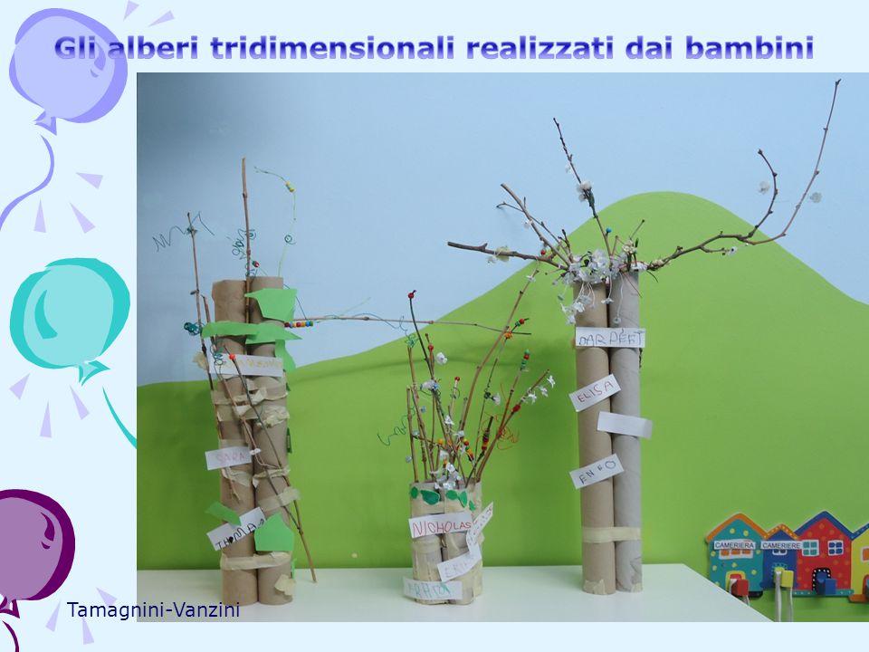 Gli alberi tridimensionali realizzati dai bambini