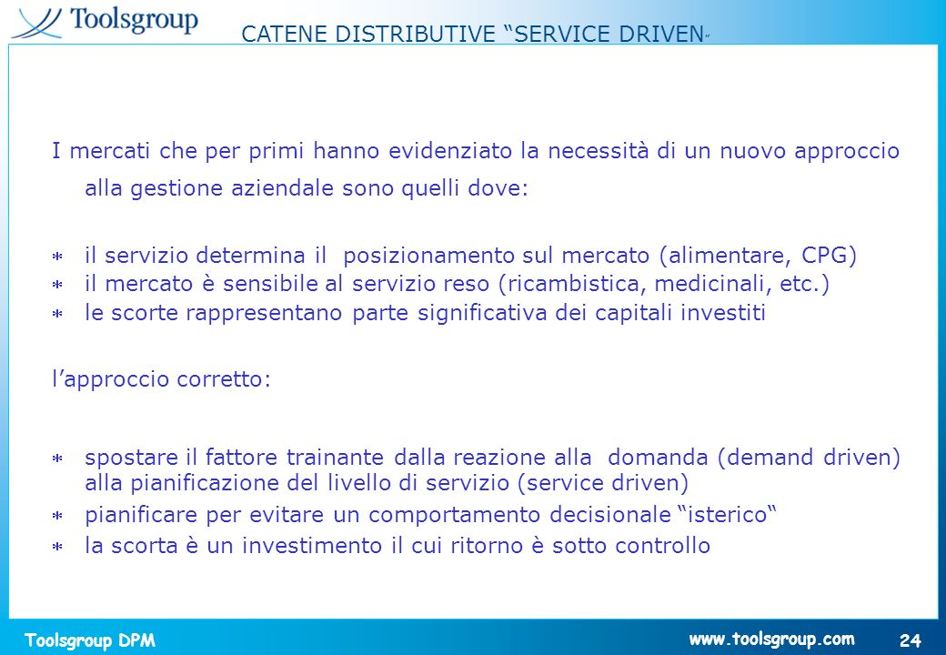 CATENE DISTRIBUTIVE SERVICE DRIVEN