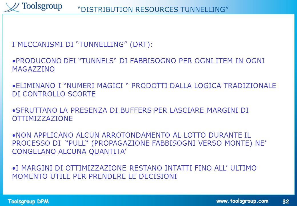 DISTRIBUTION RESOURCES TUNNELLING