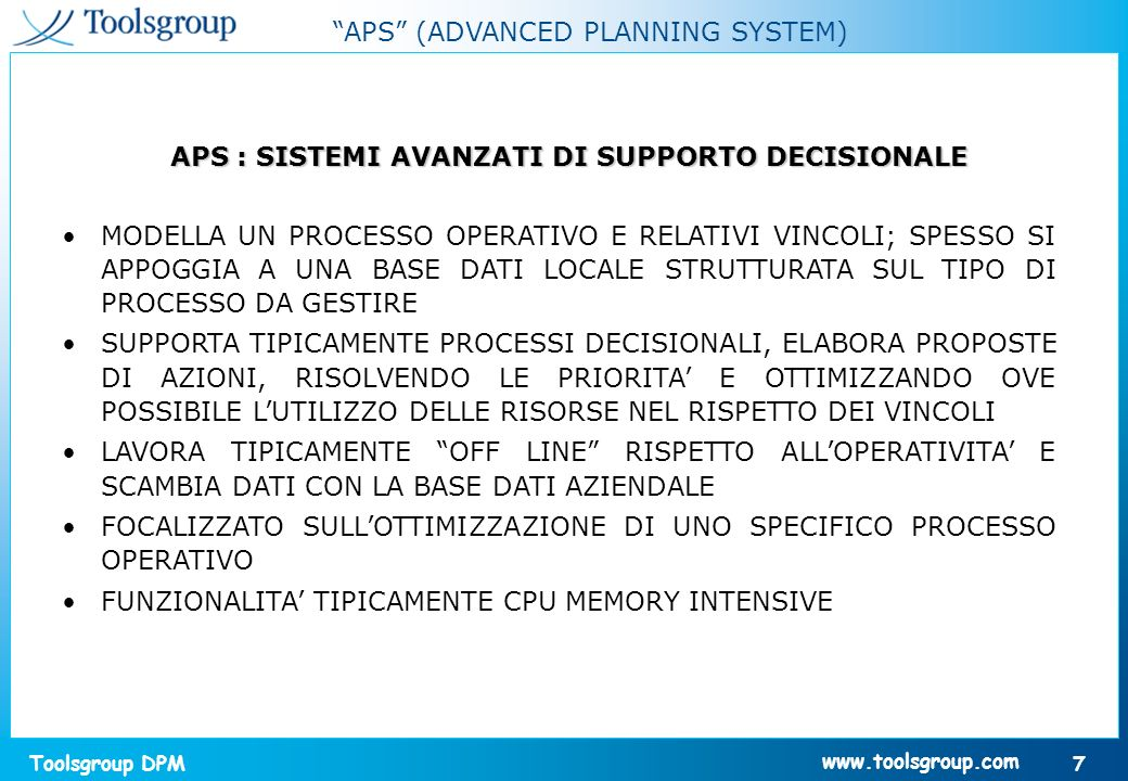 APS : SISTEMI AVANZATI DI SUPPORTO DECISIONALE