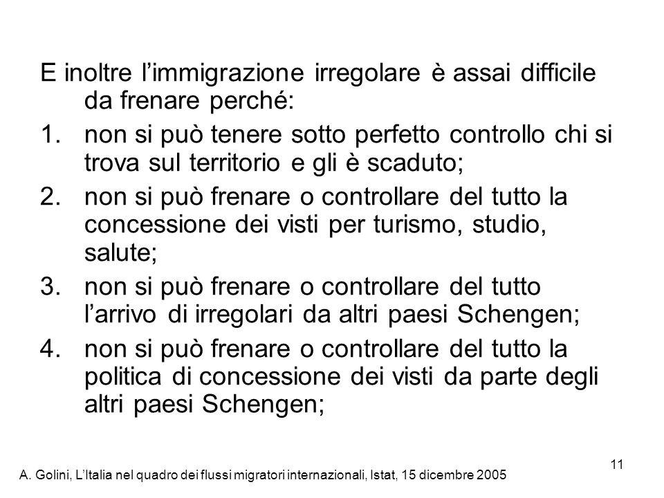 E inoltre l'immigrazione irregolare è assai difficile da frenare perché: