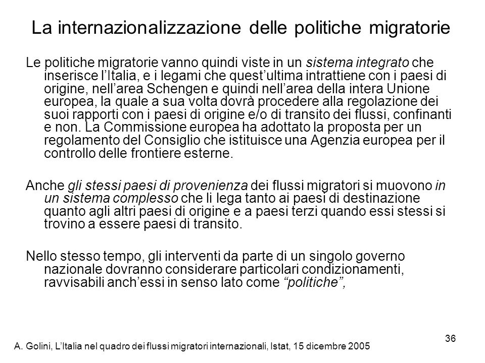 La internazionalizzazione delle politiche migratorie