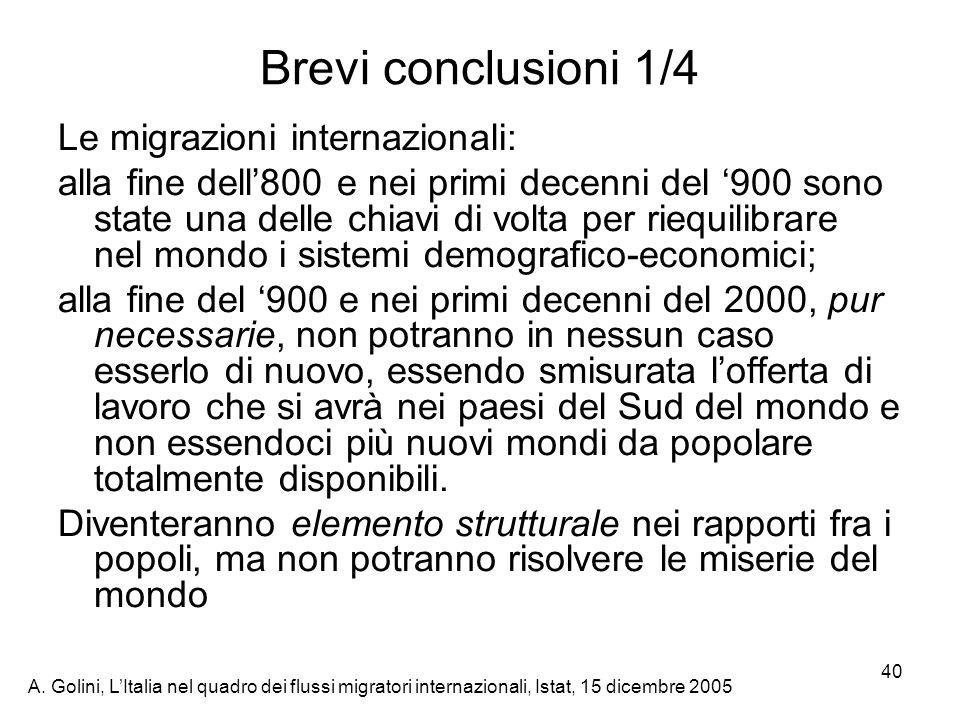 Brevi conclusioni 1/4 Le migrazioni internazionali: