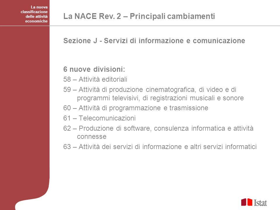 La NACE Rev. 2 – Principali cambiamenti
