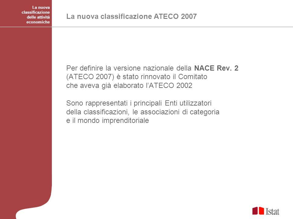 La nuova classificazione ATECO 2007