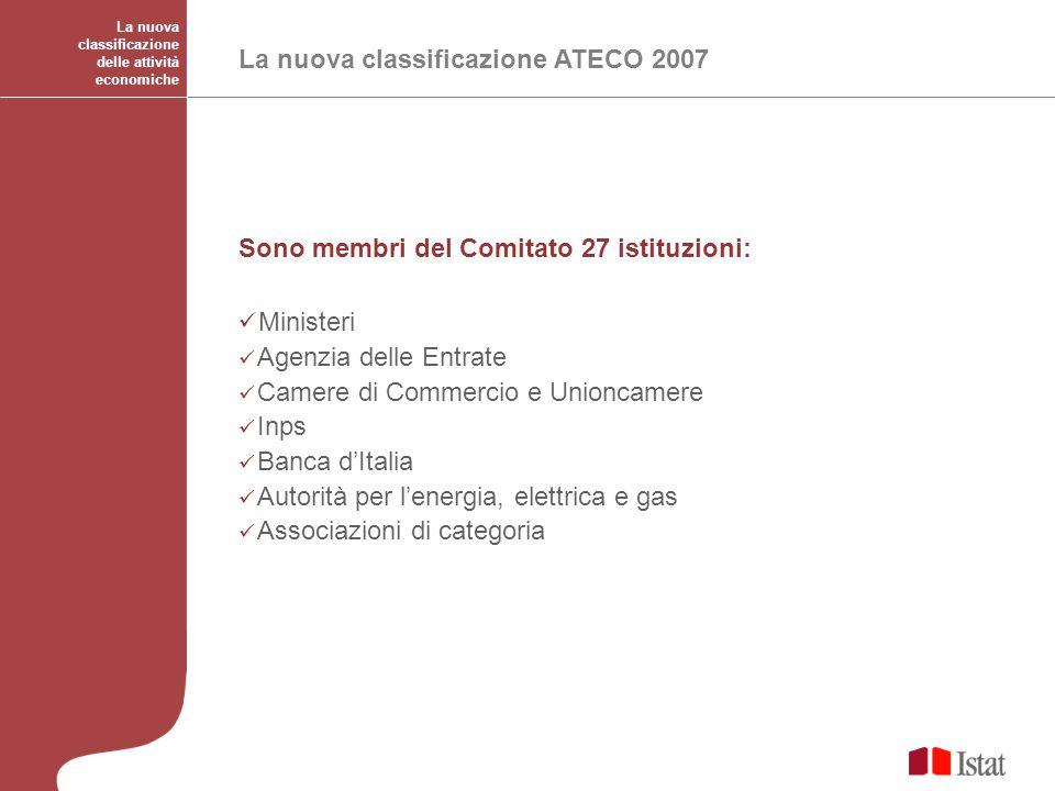 Ministeri La nuova classificazione ATECO 2007