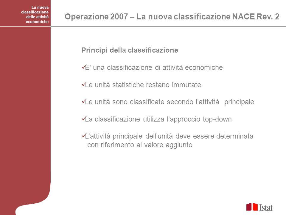 Operazione 2007 – La nuova classificazione NACE Rev. 2