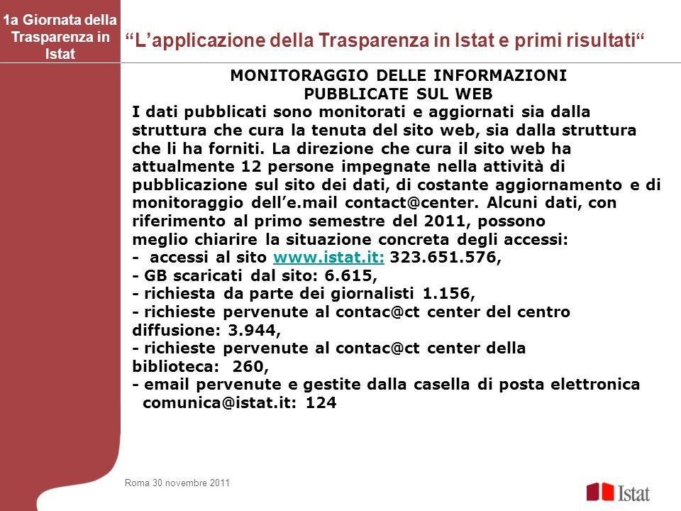 1a Giornata della Trasparenza in Istat MONITORAGGIO DELLE INFORMAZIONI