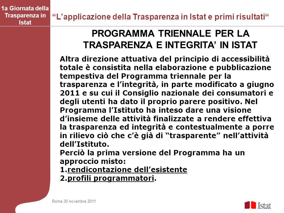 PROGRAMMA TRIENNALE PER LA TRASPARENZA E INTEGRITA' IN ISTAT