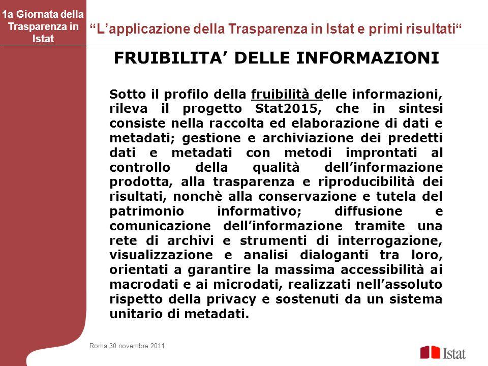1a Giornata della Trasparenza in Istat FRUIBILITA' DELLE INFORMAZIONI