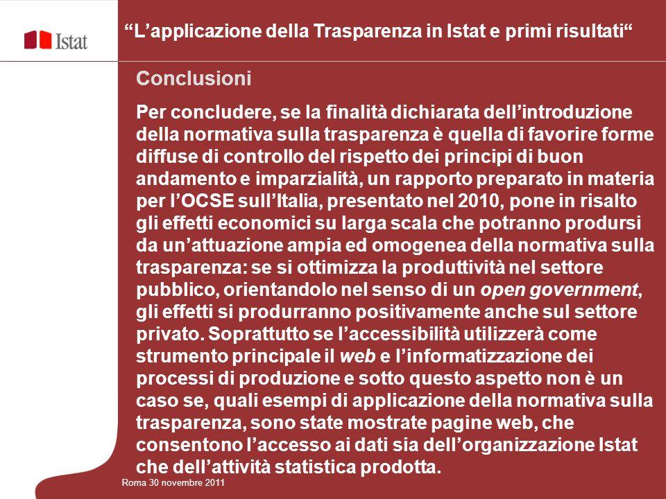 L'applicazione della Trasparenza in Istat e primi risultati