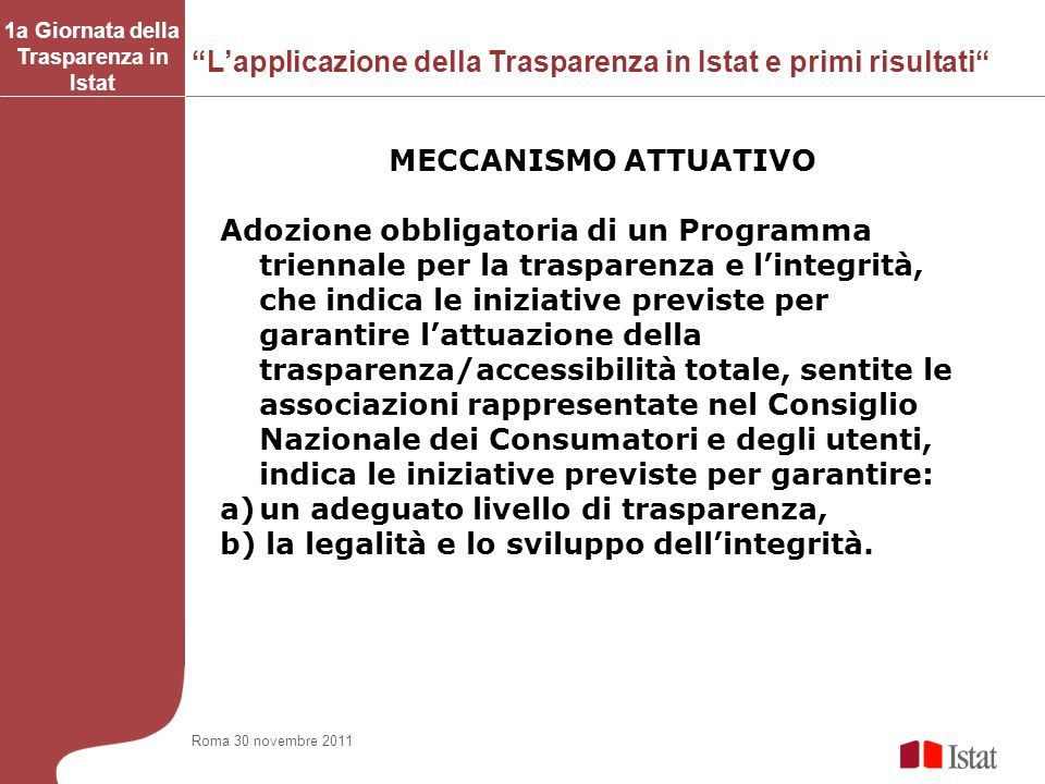 1a Giornata della Trasparenza in Istat