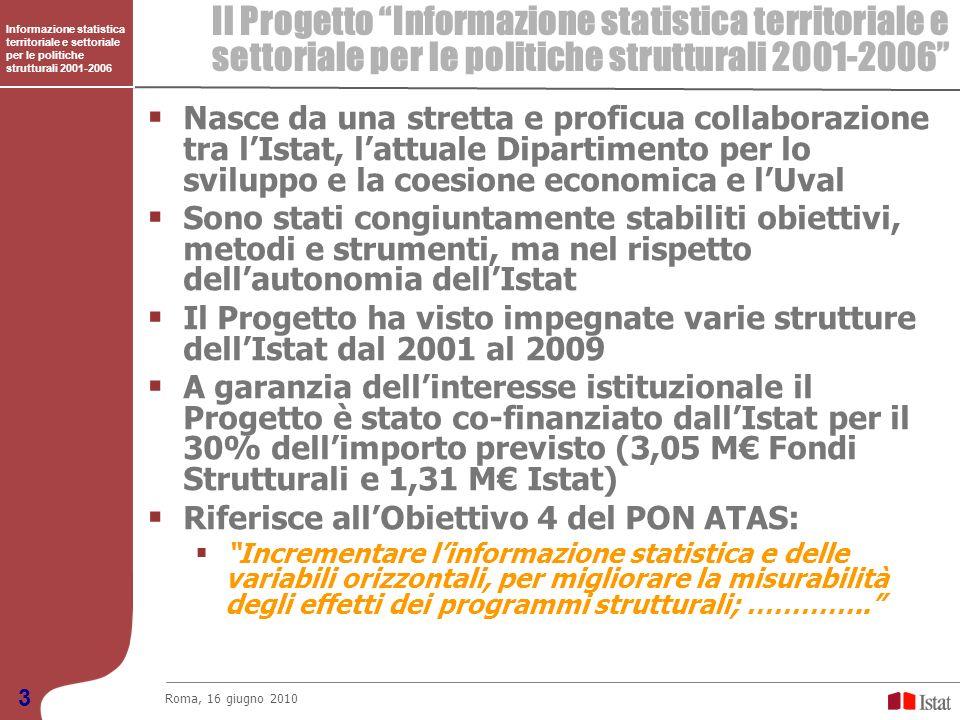 Il Progetto Informazione statistica territoriale e settoriale per le politiche strutturali 2001-2006