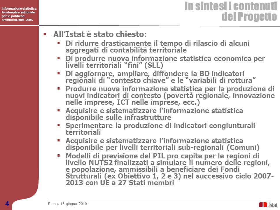 In sintesi i contenuti del Progetto All'Istat è stato chiesto: