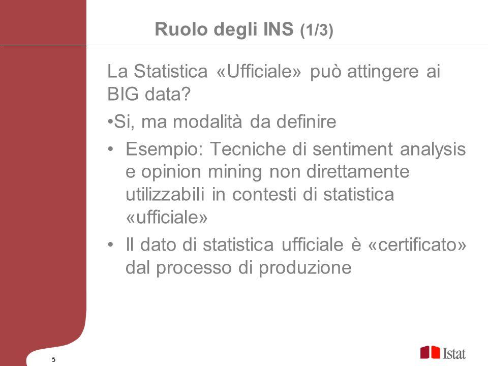 La Statistica «Ufficiale» può attingere ai BIG data
