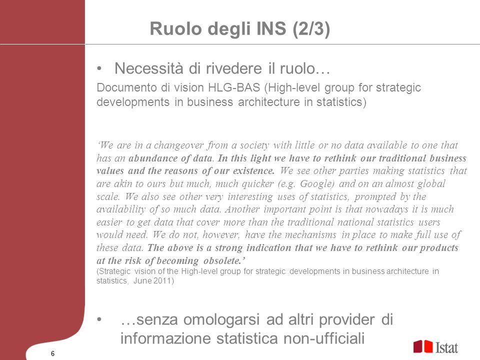 Ruolo degli INS (2/3) Necessità di rivedere il ruolo…