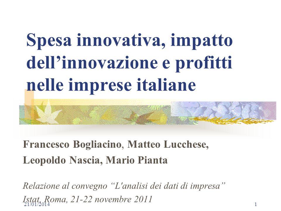 Spesa innovativa, impatto dell'innovazione e profitti nelle imprese italiane