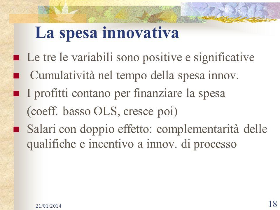 La spesa innovativa Le tre le variabili sono positive e significative