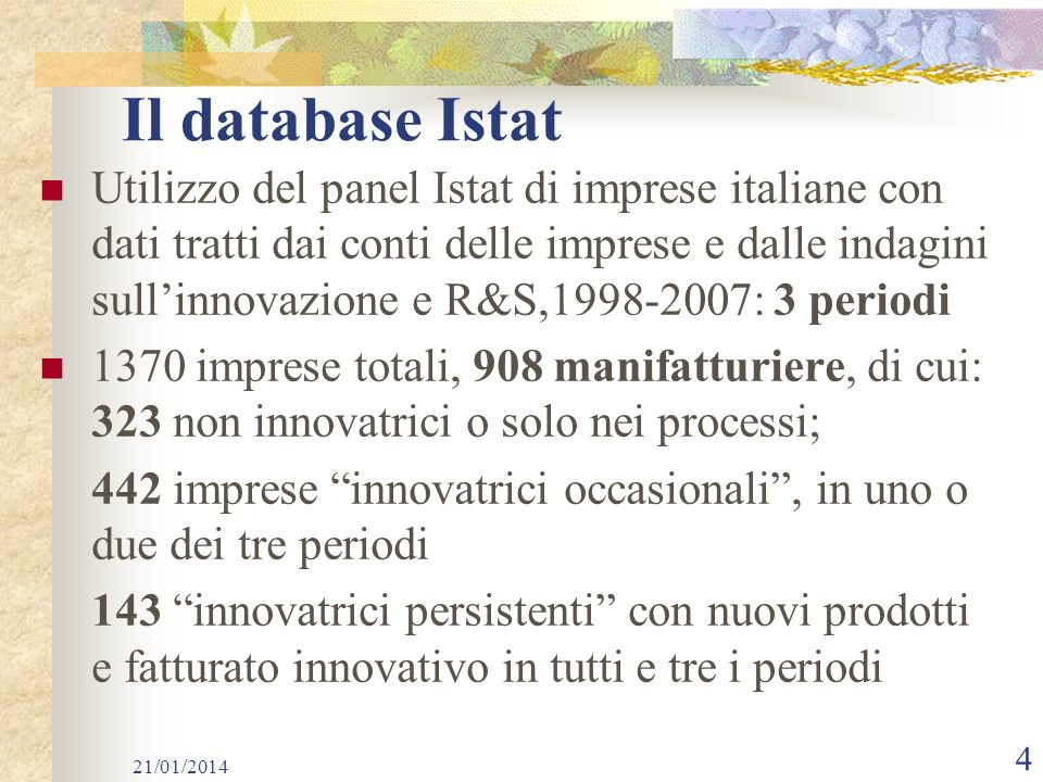 Il database Istat