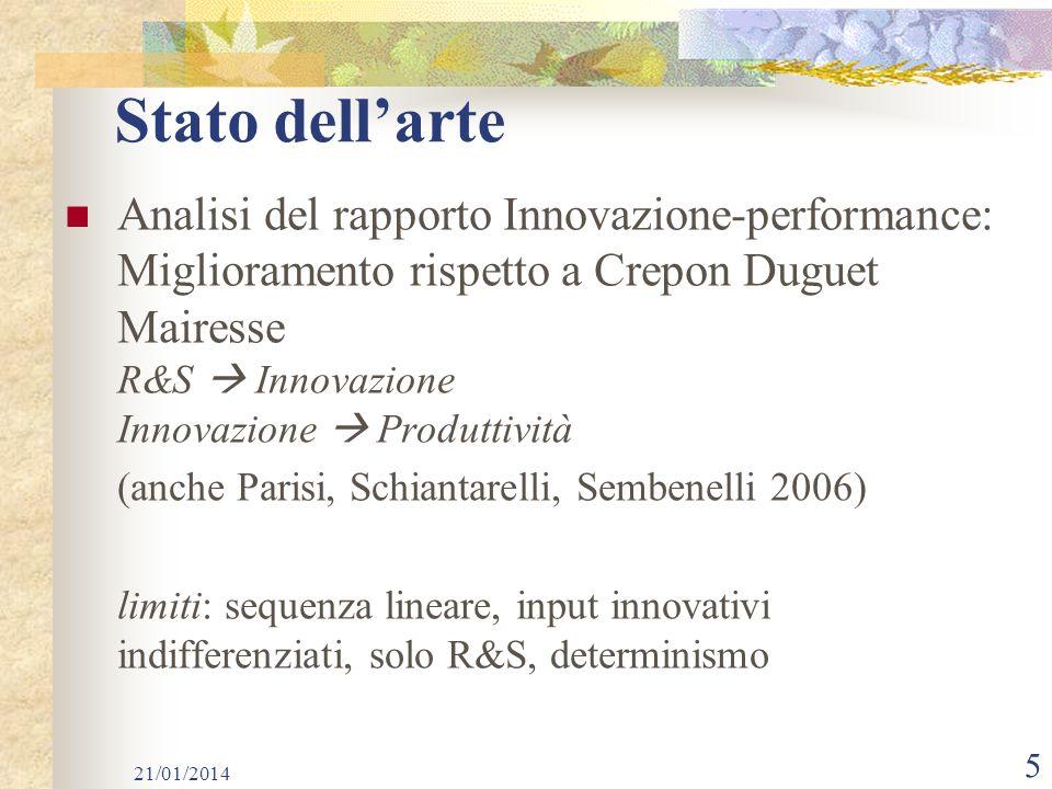 Stato dell'arte Analisi del rapporto Innovazione-performance: Miglioramento rispetto a Crepon Duguet Mairesse.