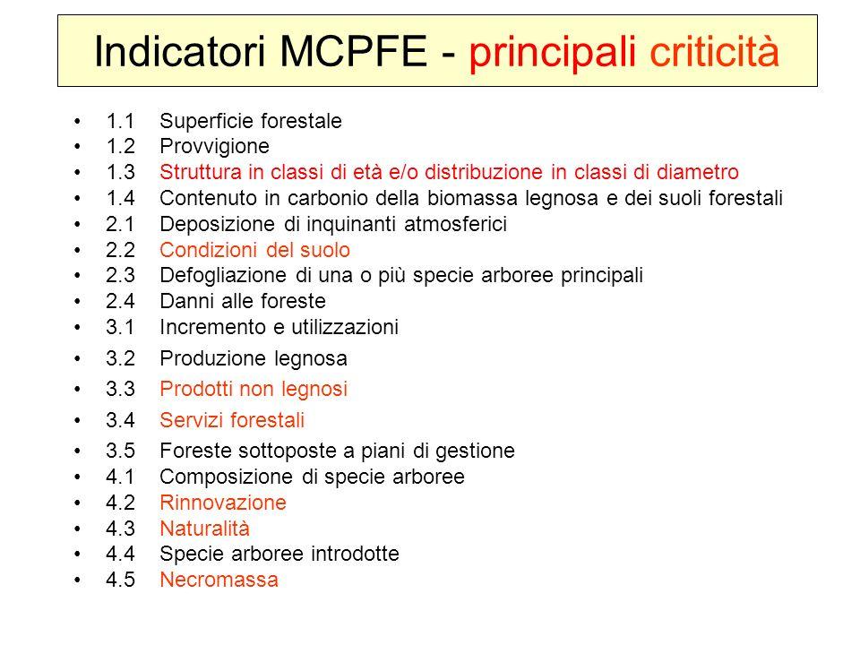 Indicatori MCPFE - principali criticità