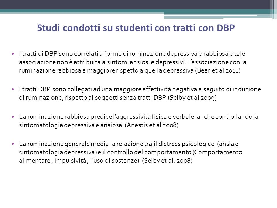 Studi condotti su studenti con tratti con DBP