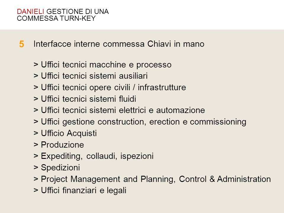 5 Interfacce interne commessa Chiavi in mano