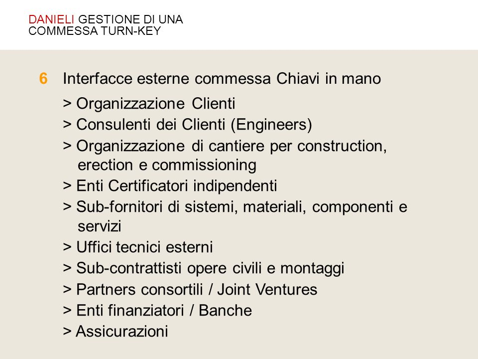 Interfacce esterne commessa Chiavi in mano