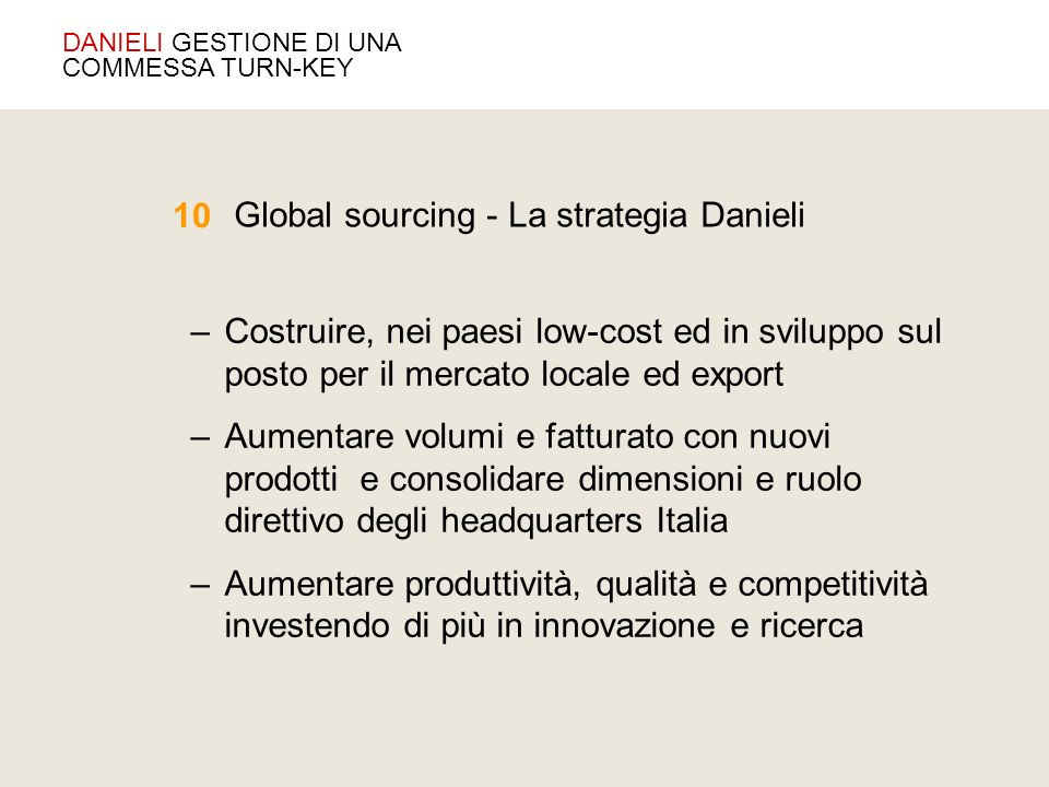Global sourcing - La strategia Danieli