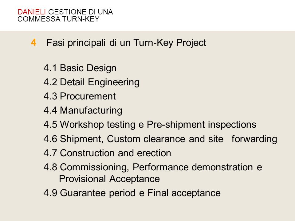 Fasi principali di un Turn-Key Project