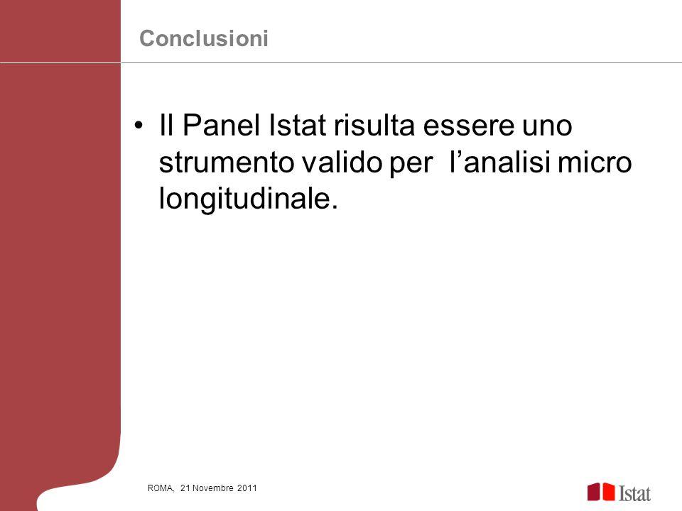 ConclusioniIl Panel Istat risulta essere uno strumento valido per l'analisi micro longitudinale.