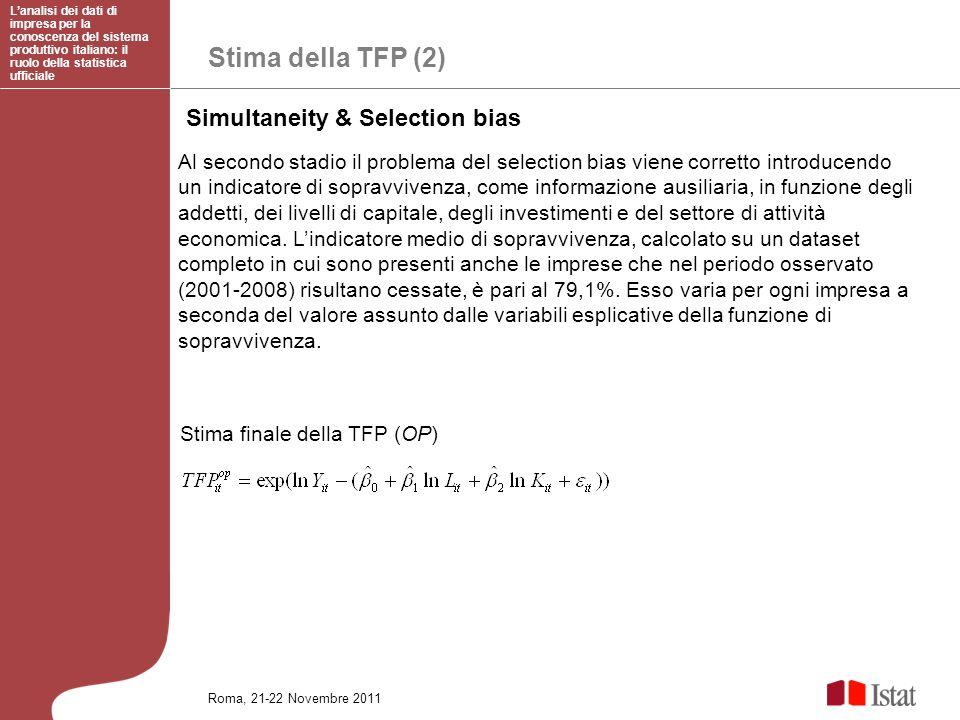 Stima della TFP (2) Simultaneity & Selection bias