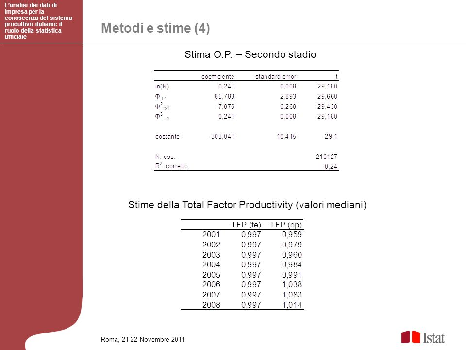 Metodi e stime (4) Stima O.P. – Secondo stadio