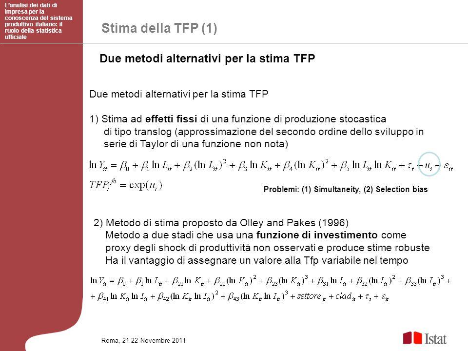 Stima della TFP (1) Due metodi alternativi per la stima TFP