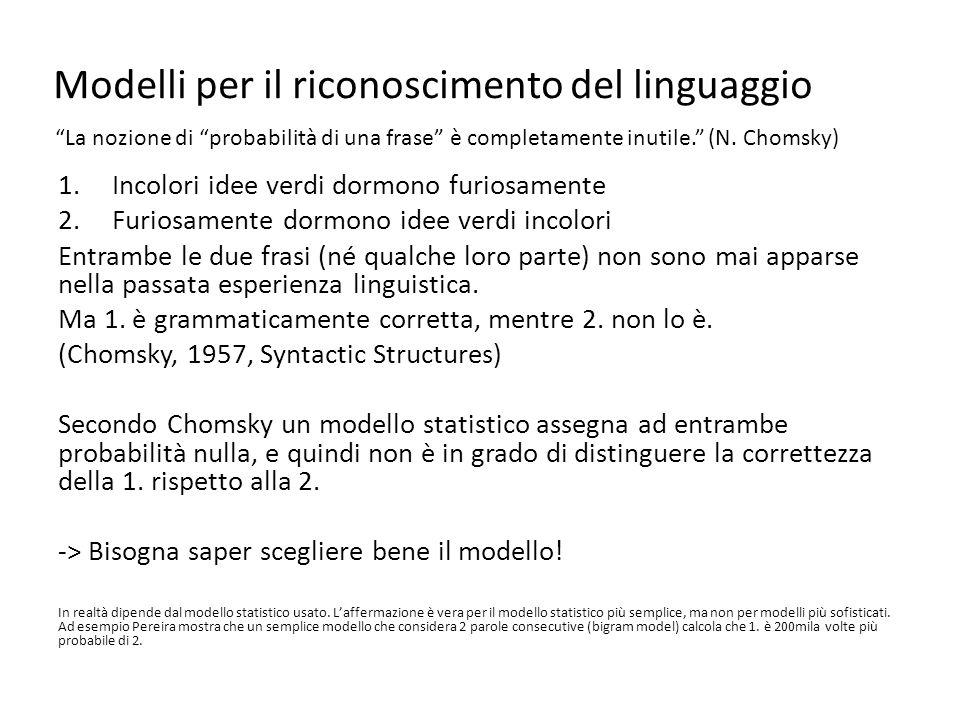 Modelli per il riconoscimento del linguaggio