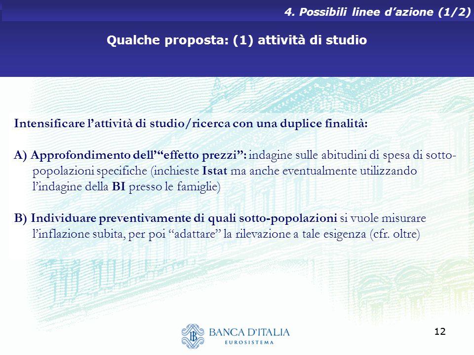 Qualche proposta: (1) attività di studio