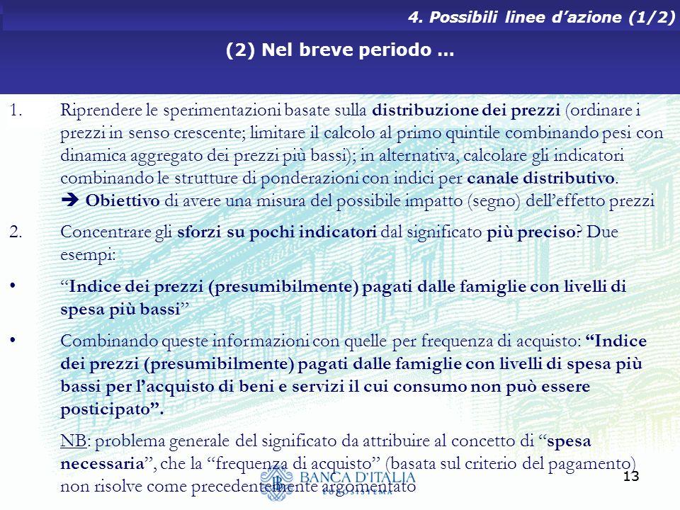 (2) Nel breve periodo … 4. Possibili linee d'azione (1/2)