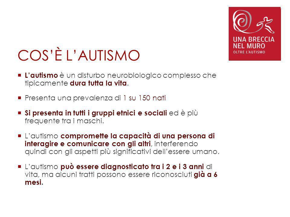 COS'È L'AUTISMO L'autismo è un disturbo neurobiologico complesso che tipicamente dura tutta la vita.