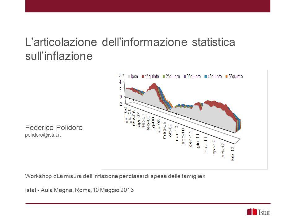 L'articolazione dell'informazione statistica sull'inflazione