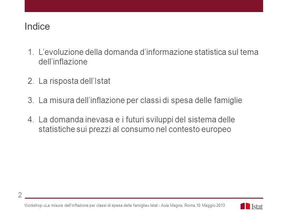Indice L'evoluzione della domanda d'informazione statistica sul tema dell'inflazione. La risposta dell'Istat.