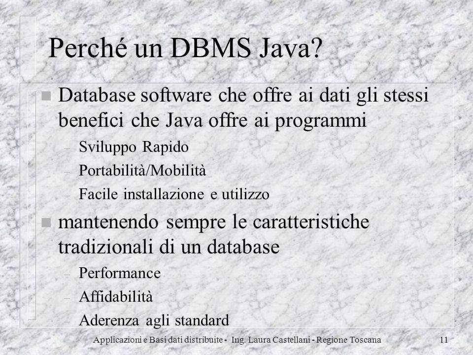Perché un DBMS Java Database software che offre ai dati gli stessi benefici che Java offre ai programmi.
