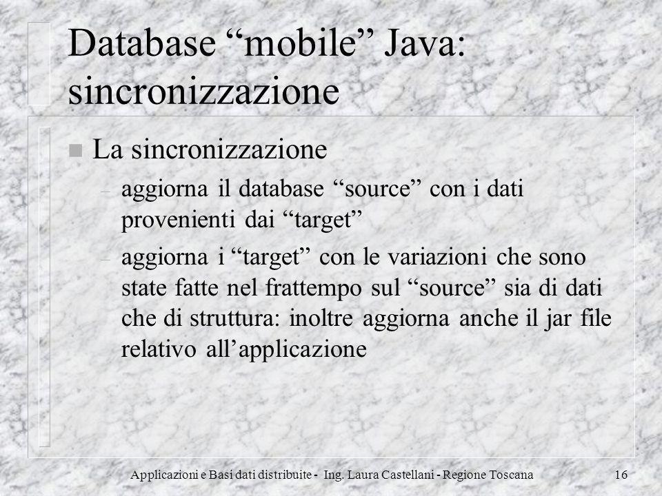 Database mobile Java: sincronizzazione