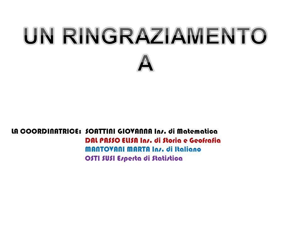 UN RINGRAZIAMENTO A. LA COORDINATRICE: SOATTINI GIOVANNA Ins. di Matematica. DAL PASSO ELISA Ins. di Storia e Geofrafia.