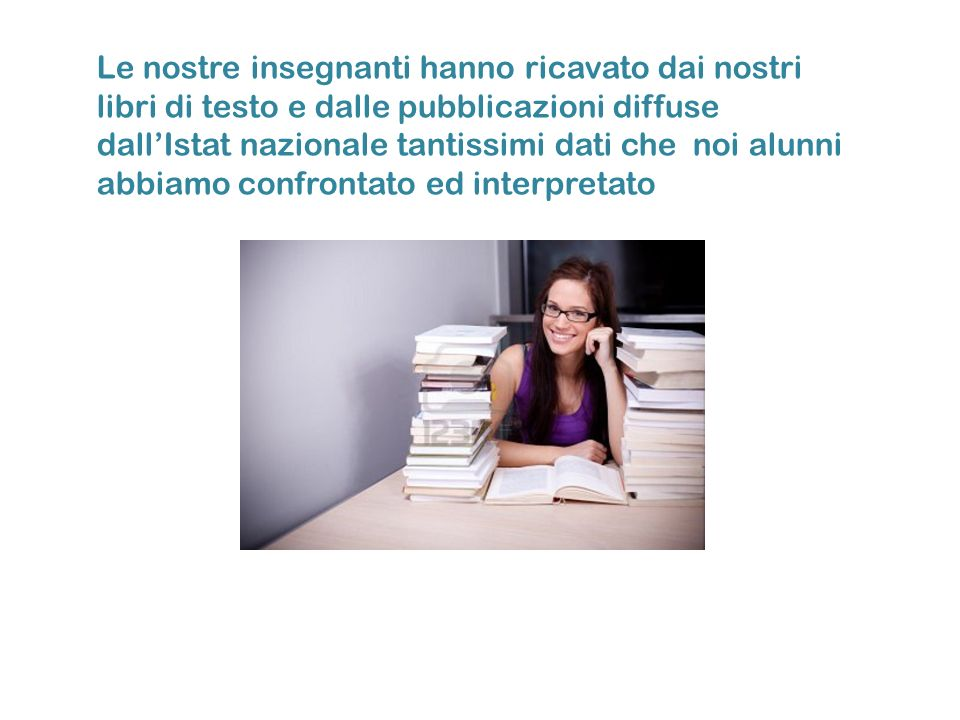 Le nostre insegnanti hanno ricavato dai nostri libri di testo e dalle pubblicazioni diffuse dall'Istat nazionale tantissimi dati che noi alunni abbiamo confrontato ed interpretato
