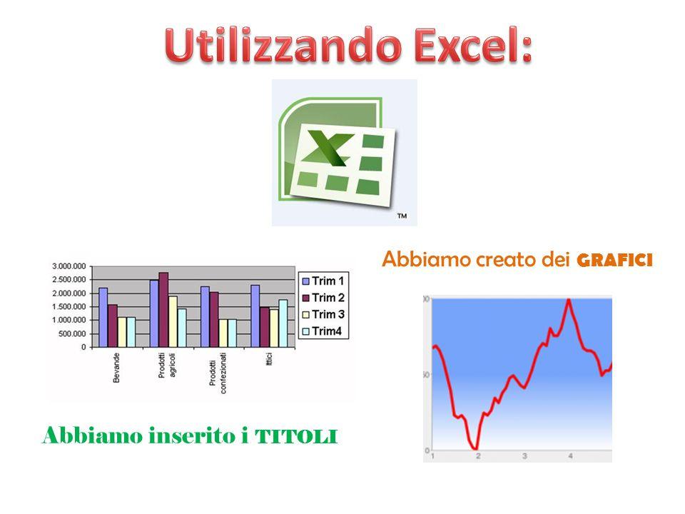 Utilizzando Excel: Abbiamo creato dei grafici