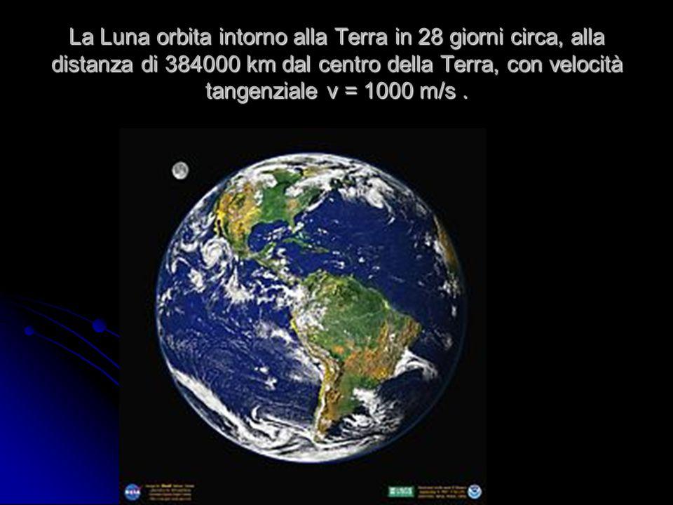 La Luna orbita intorno alla Terra in 28 giorni circa, alla distanza di 384000 km dal centro della Terra, con velocità tangenziale v = 1000 m/s .