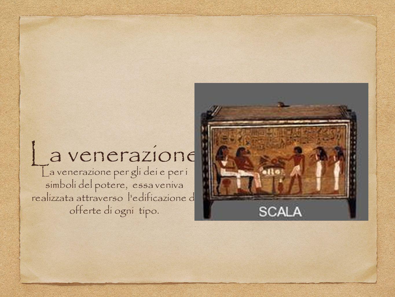 La venerazione La venerazione per gli dei e per i simboli del potere, essa veniva realizzata attraverso l edificazione di offerte di ogni tipo.