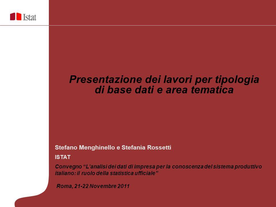 Presentazione dei lavori per tipologia di base dati e area tematica