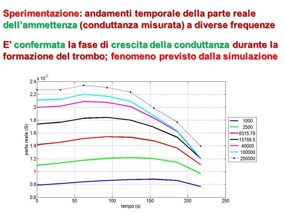 Sperimentazione: andamenti temporale della parte reale dell'ammettenza (conduttanza misurata) a diverse frequenze